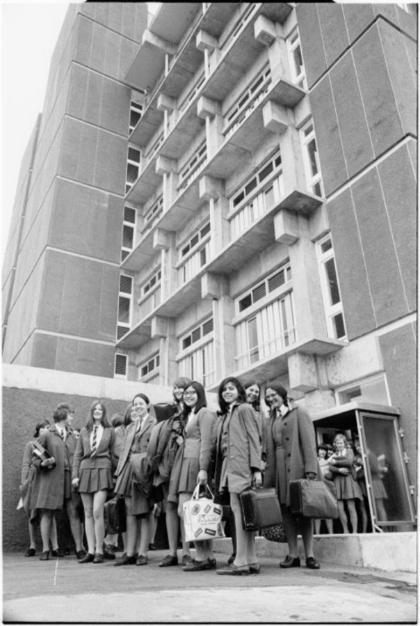 Although taught in this building I am not in the photo because I'm probably at a desk outside Betty Fraser's office (Evening Post archives)