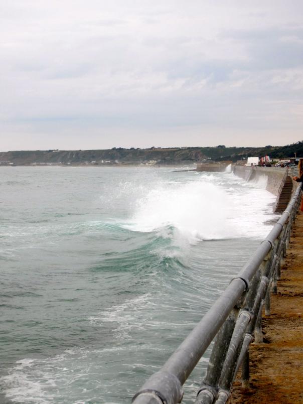 waves crashing onto sea wall (mrscarmichael)